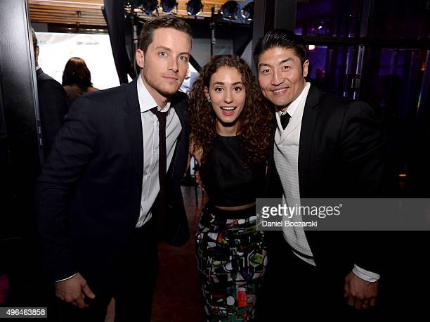Actors Jesse Lee Soffer Rachel DiPillo and Brian Tee attend a premiere party for NBC's 'Chicago Fire' 'Chicago PD' and 'Chicago Med' at STK Chicago...