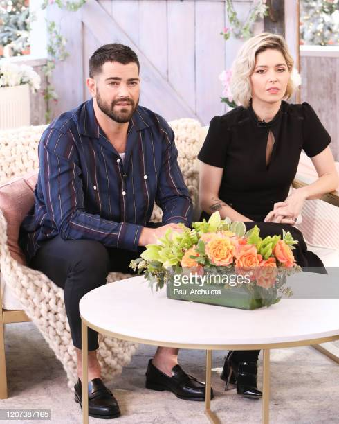 Actors Jesse Metcalfe and Sarah Lind visit Hallmark Channel's Home Family at Universal Studios Hollywood on February 19 2020 in Universal City...