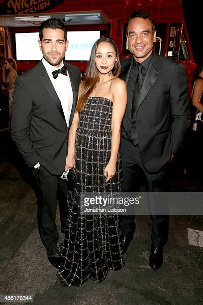 Actors Jesse Metcalfe Cara Santana and guest at The UNICEF Dia de los Muertos Black White Masquerade Ball at Hollywood Forever Cemetery benefitting...