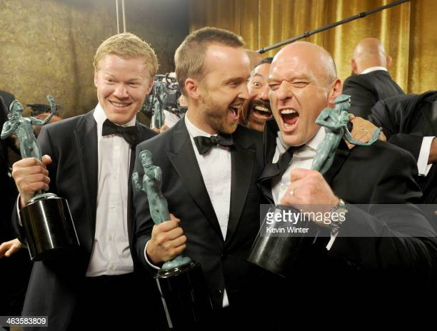 Actors Jesse Plemons Aaron Paul and Dean Norris attend the 20th Annual Screen Actors Guild Awards at The Shrine Auditorium on January 18 2014 in Los...