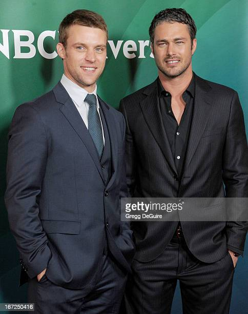 Actors Jesse Spencer and Taylor Kinney arrive at the 2013 NBC Summer Press Day at The Langham Huntington Hotel and Spa on April 22 2013 in Pasadena...