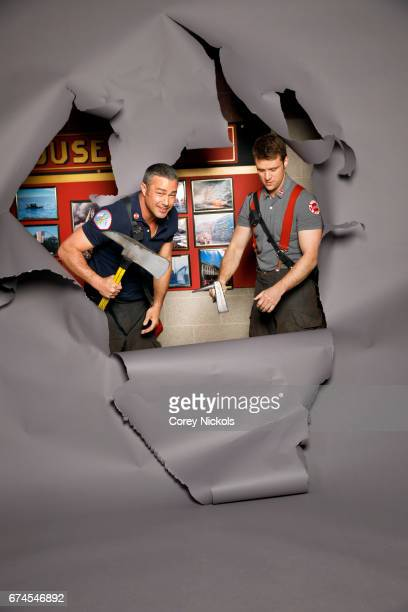 Actors Jesse Spencer and Taylor Kinney from TV's 'Chicago Fire' are photographed for TV Guide Magazine on March 17 2017 in Chicago Illinois