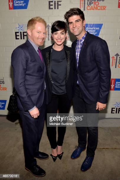 Actors Jesse Tyler Ferguson and Anne Hathaway and Justin Mikita attend Hollywood Stands Up To Cancer Event with contributors American Cancer Society...