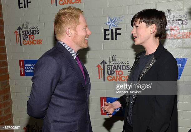 Actors Jesse Tyler Ferguson and Anne Hathaway attend Hollywood Stands Up To Cancer Event with contributors American Cancer Society and Bristol Myers...