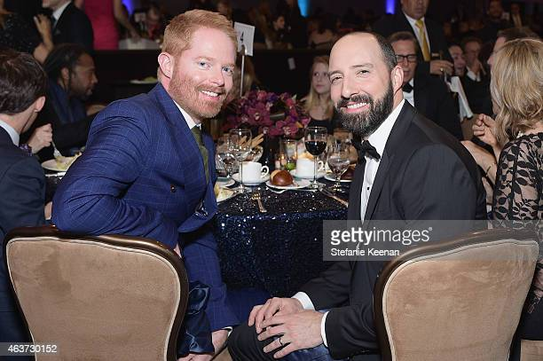Actors Jesse Tyler Ferguson and Tony Hale attend the 17th Costume Designers Guild Awards with presenting sponsor Lacoste at The Beverly Hilton Hotel...