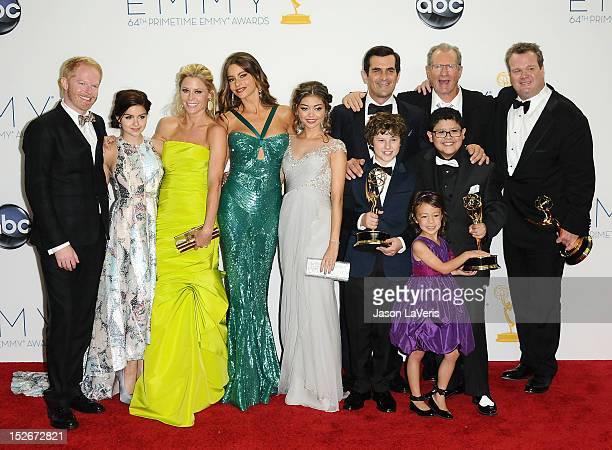 Actors Jesse Tyler Ferguson, Ariel Winter, Julie Bowen, Sofia Vergara, Sarah Hyland, Ty Burrell, Nolan Gould, Ed O'Neill, Rico Rodridgez, and Eric...