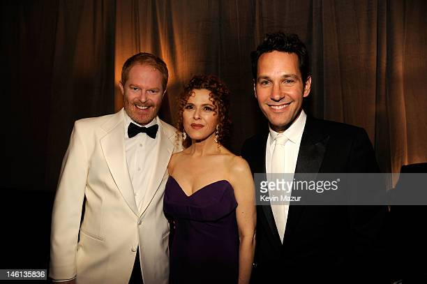 Actors Jesse Tyler Ferguson Bernadette Peters and Paul Rudd attend the 66th Annual Tony Awards at The Beacon Theatre on June 10 2012 in New York City