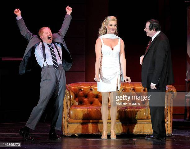 Actors Jesse Tyler Ferguson Rebecca Romijn and Richard Kind perform at the Hollywood Bowl Presents The Producers A New Mel Brooks Musical at the...