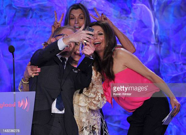 Actors Jesse Tyler Ferguson Wendie Malick Betty White and Jane Leeves speak onstage at the 23rd Annual GLAAD Media Awards presented by Ketel One and...