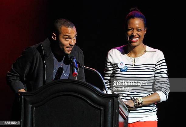 Actors Jesse Wiliams and Aisha Tyler speak at an early vote event for Obama for America at the House of Blues inside the Mandalay Bay Resort & Casino...