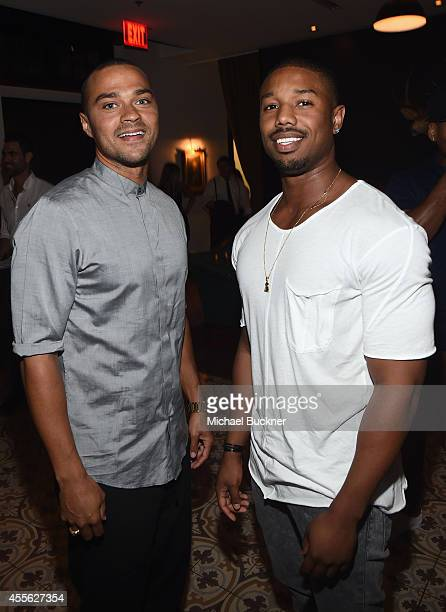 Actors Jesse Williams and Michael B Jordan at the MEN'S FITNESS 2014 GAME CHANGERS event at Palihouse on September 17 2014 in West Hollywood...