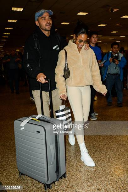 Actors Jesse Williams and Taylour Paige leave the Salt Lake City International Airport on January 23 2020 in Salt Lake City Utah