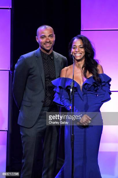 Actors Jesse Williams and Vivian Nixon speak onstage during the 42nd Annual Gracie Awards hosted by The Alliance for Women in Media at the Beverly...