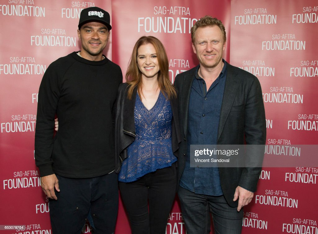 Actors Jesse Williams, Sarah Drew and Kevin McKidd attend SAG-AFTRA Foundation's Conversations with 'Grey's Anatomy' at SAG-AFTRA Foundation Screening Room on March 13, 2017 in Los Angeles, California.