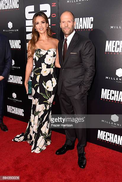 Actors Jessica Alba and Jason Statham attend the premiere of Summit Entertainment's Mechanic Resurrection at ArcLight Hollywood on August 22 2016 in...