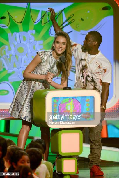 Actors Jessica Alba and Kevin Hart speak onstage during Nickelodeon's 26th Annual Kids' Choice Awards at USC Galen Center on March 23 2013 in Los...
