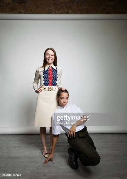 Actors Jessica Barden and Hayley Law from the film The New Romantic poses for a portrait in the Getty Images Portrait Studio Powered by Pizza Hut at...