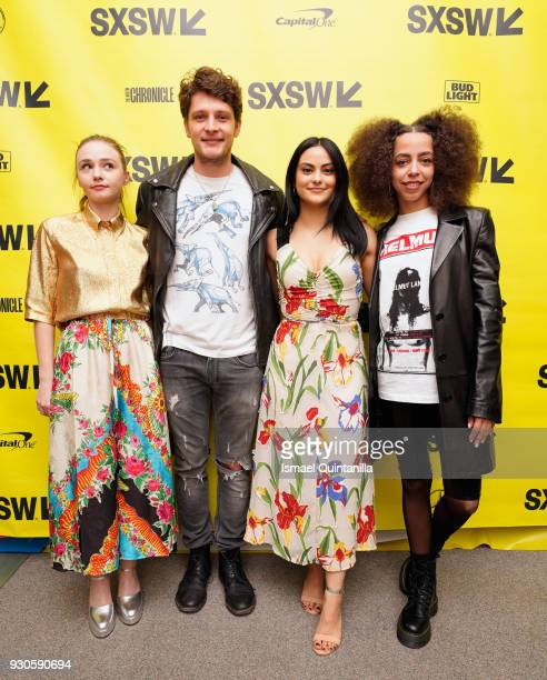 Actors Jessica Barden Brett Dier Camila Mendes and Hayley Law attend the premiere of The New Romantic during SXSW at Stateside Theater on March 11...