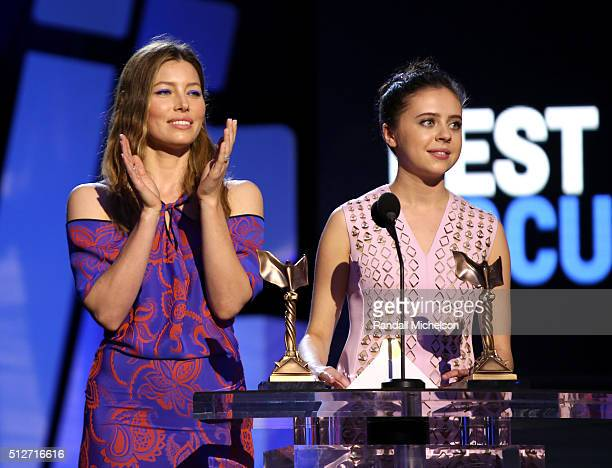 Actors Jessica Biel and Bel Powley speak onstage during the 2016 Film Independent Spirit Awards on February 27, 2016 in Santa Monica, California.