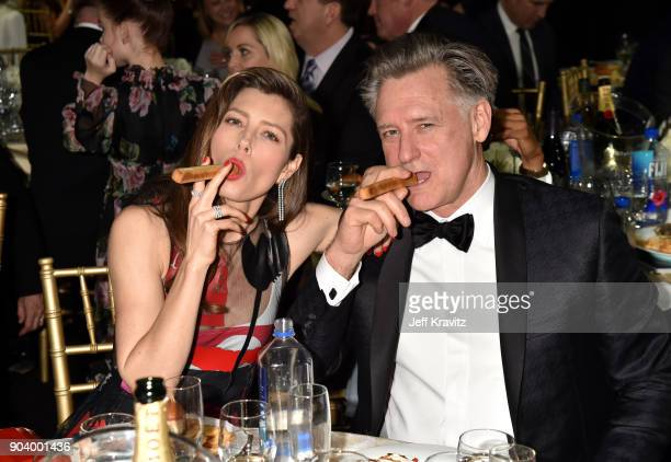 Actors Jessica Biel and Bill Pullman attend The 23rd Annual Critics' Choice Awards at Barker Hangar on January 11 2018 in Santa Monica California