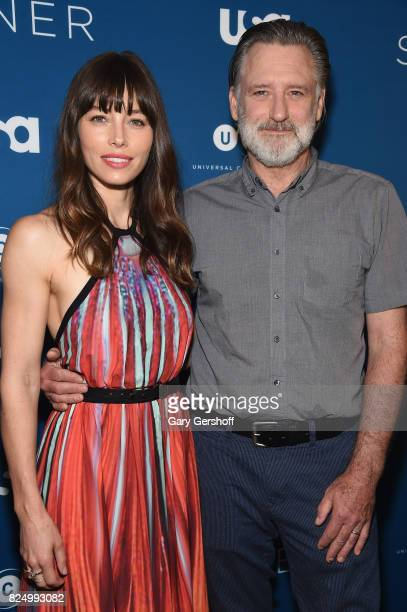 Actors Jessica Biel and Bill Pullman attend The Sinner series premiere screening at Crosby Street Hotel on July 31 2017 in New York City