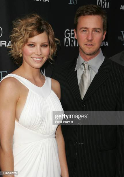 Actors Jessica Biel and Edward Norton attend Yari Film Group's premiere of The Illusionist at Chelsea West Cinemas August 15 2006 in New York City