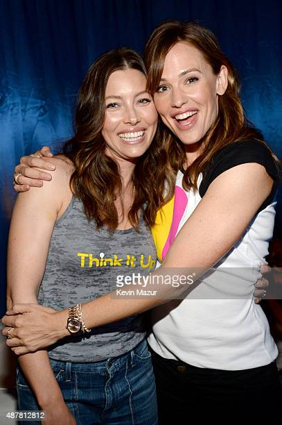 Actors Jessica Biel and Jennifer Garner attend the Think It Up education initiative telecast for teachers and students hosted by Entertainment...
