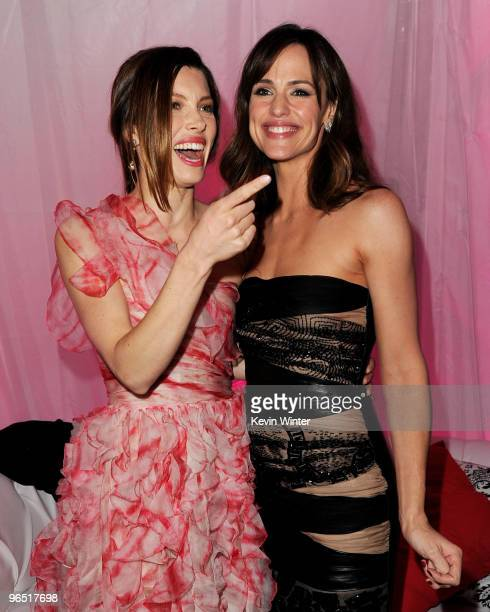 """Actors Jessica Biel and Jennifer Garner pose at the afterparty for the premiere of New Line Cinema's """"Valentine's Day"""" on February 8, 2010 in Los..."""