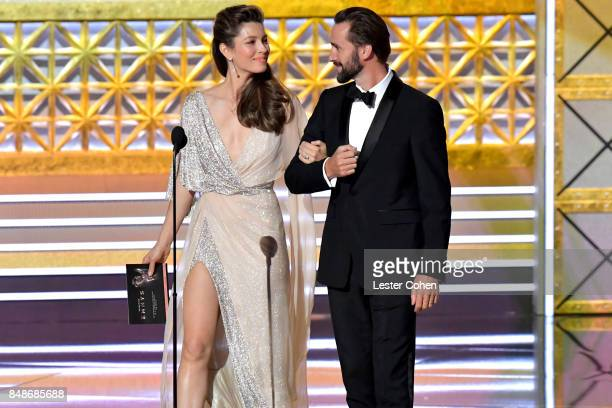 Actors Jessica Biel and Joseph Fiennes speak onstage during the 69th Annual Primetime Emmy Awards at Microsoft Theater on September 17 2017 in Los...