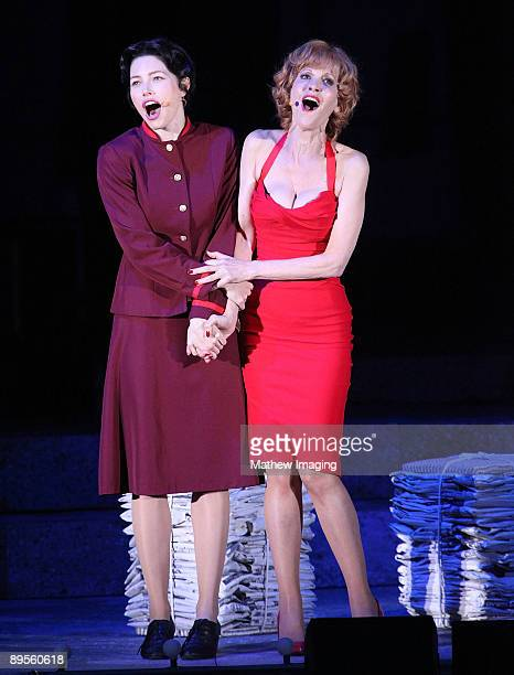 Actors Jessica Biel as Sarah Brown and Ellen Greene as Miss Adelaide perform in Guys Dolls at The Hollywood Bowl on July 31 2009 in Hollywood...