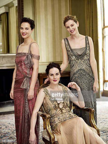Actors Jessica Brown-Findlay, Michelle Dockery and Laura Carmichael are photographed for Vogue magazine on September 20, 2011 in London, England.