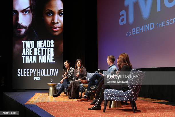 Actors Jessica Camacho Nikki Reed Zach Appelman Lyndie Greenwood and moderator Kim Root speak during the Sleepy Hollow event during aTVfest 2016...