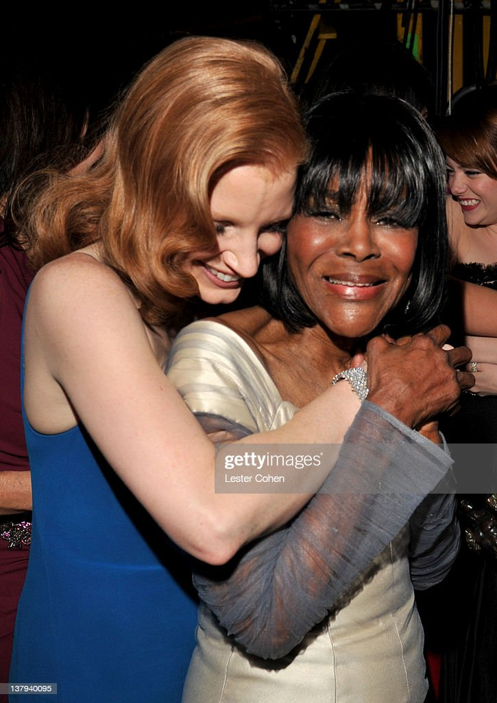 Actors Jessica Chastain (L) and Cicely Tyson attend The 18th Annual Screen Actors Guild Awards broadcast on TNT/TBS at The Shrine Auditorium on January 29, 2012 in Los Angeles, California. (Photo by Lester Cohen/WireImage) 22005_008_LC_0799.JPG