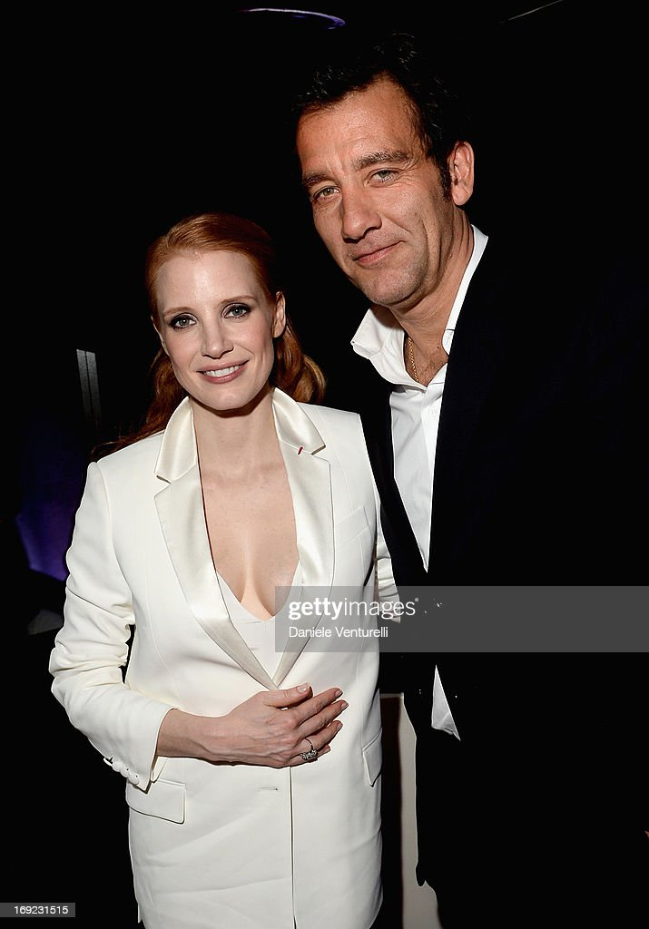 Actors Jessica Chastain and Clive Owen attend the 'Cleopatra' cocktail hosted by Bulgari during The 66th Annual Cannes Film Festival at JW Marriott on May 21, 2013 in Cannes, France.