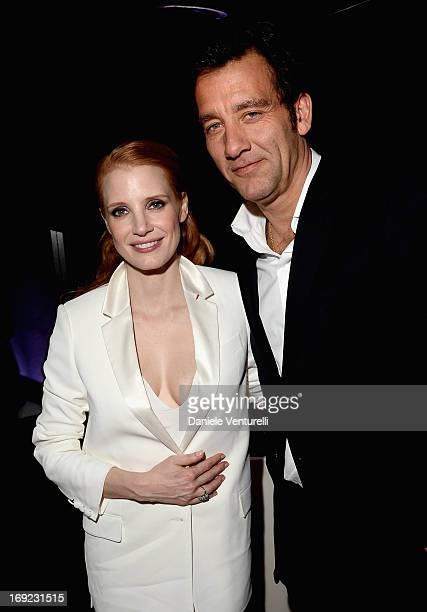 Actors Jessica Chastain and Clive Owen attend the 'Cleopatra' cocktail hosted by Bulgari during The 66th Annual Cannes Film Festival at JW Marriott...