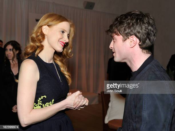 Actors Jessica Chastain and Daniel Radcliffe attend the Women In Film's 6th Annual PreOscar Party hosted by Perrier Jouet MAC Cosmetics and MaxMara...