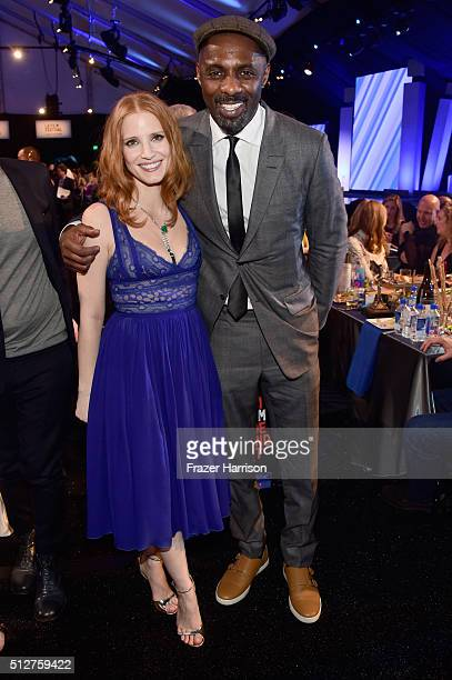 Actors Jessica Chastain and Idris Elba attend the 2016 Film Independent Spirit Awards on February 27 2016 in Santa Monica California