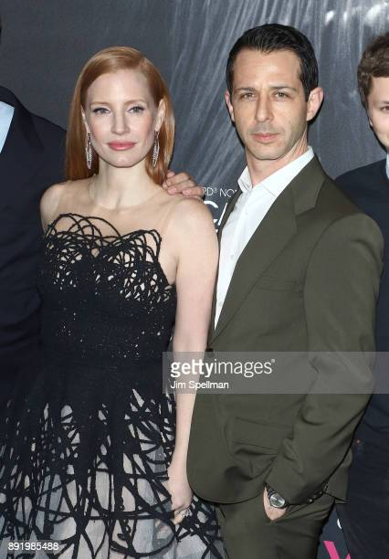 Actors Jessica Chastain and Jeremy Strong attend the Molly's Game New York premiere at AMC Loews Lincoln Square on December 13 2017 in New York City
