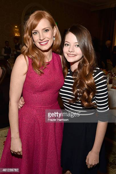 Actors Jessica Chastain and Mackenzie Foy attend the 15th Annual AFI Awards Luncheon at Four Seasons Hotel Los Angeles at Beverly Hills on January 9...