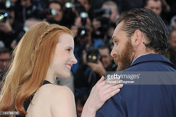 Actors Jessica Chastain and Tom Hardy pose at the 'Lawless' photocall during the 65th Annual Cannes Film Festival at Palais des Festivals on May 19...