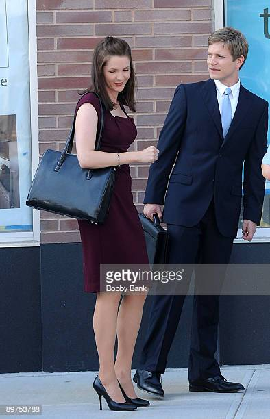 Actors Jessica Collins and Matt Czuchry are seen on location for 'The Good Wife' August 11 2009 in the Long Island City neighborhood of the Queens...