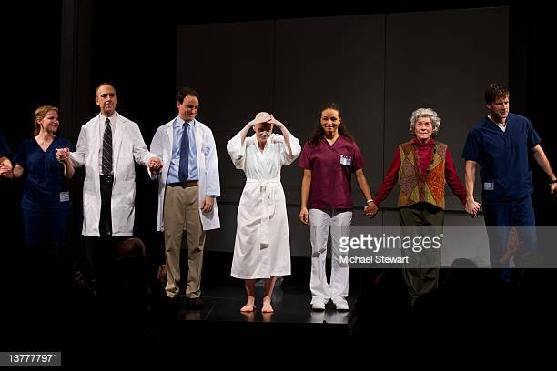 Actors Jessica Dickey Michael Countryman Greg Keller Cynthia Nixon Carra Patterson Suzanne Bertish and Zachary Spicer onstage during curtain call for...