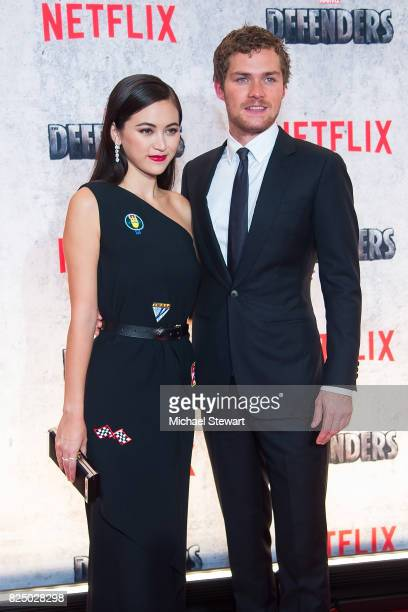 Actors Jessica Henwick and Finn Jones attend the 'Marvel's The Defenders' New York premiere at Tribeca Performing Arts Center on July 31 2017 in New...