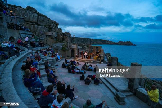 Actors Jessica Johnson and Stephen Tompkinson perform on stage at The Minack Theatre during the 40th Anniversary sell-out production of Willy...