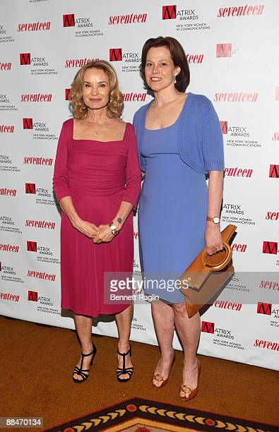 Actors Jessica Lange and Sigourney Weaver attends the 2009 Matrix Awards at the Waldorf=Astoria on April 27 2009 in New York City