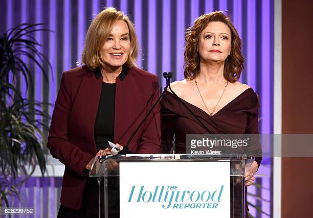 Actors Jessica Lange and Susan Sarandon speak onstage during The Hollywood Reporter's Annual Women in Entertainment Breakfast in Los Angeles at Milk...