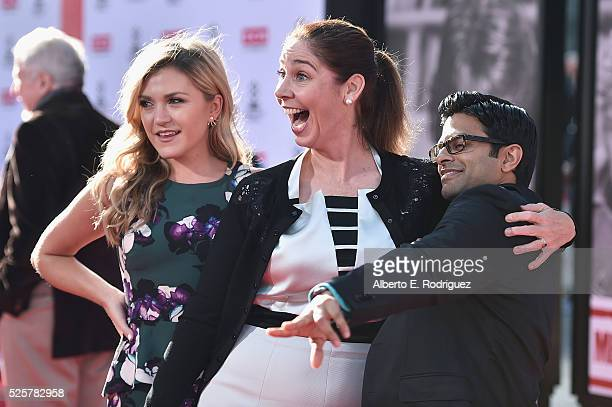 Actors Jessica Lowe Brooke Dillman and Asif Ali attend 'All The President's Men' premiere during the TCM Classic Film Festival 2016 Opening Night on...