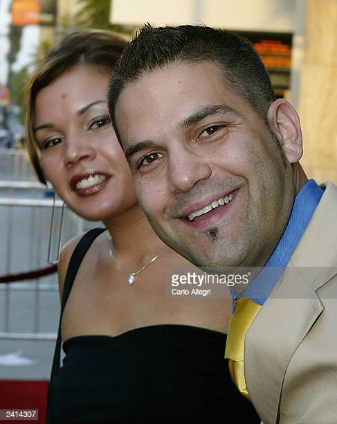 Actors Jessica Lugo and Guillermo Diaz arrive for the premiere of the movie Wasabi Tuna at the Arclight Theater on August 20 2003 in Hollywood