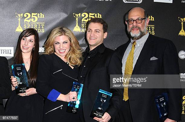 Actors Jessica McManus Sari Lennick Michael Stuhlbarg and Fred Melamed winners of Robert Altman award for A Serious Man pose in the press room at the...