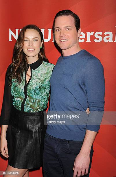 Actors Jessica McNamee and Michael Mosley attend the NBCUniversal 2015 Press Tour at the Langham Huntington Hotel on January 15 2015 in Pasadena...